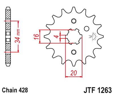 JT Sprockets JTF1265.14 14T Steel Front Sprocket tr-248629