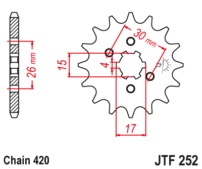 JTF824.16 JT Sprockets 16T~ Steel Front Sprocket
