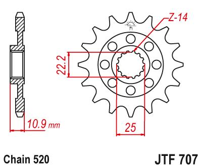 JT Front Sprocket JTF707 15 Teeth