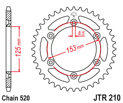 JT REAR SPROCKET 39 TOOTH JTR210.39